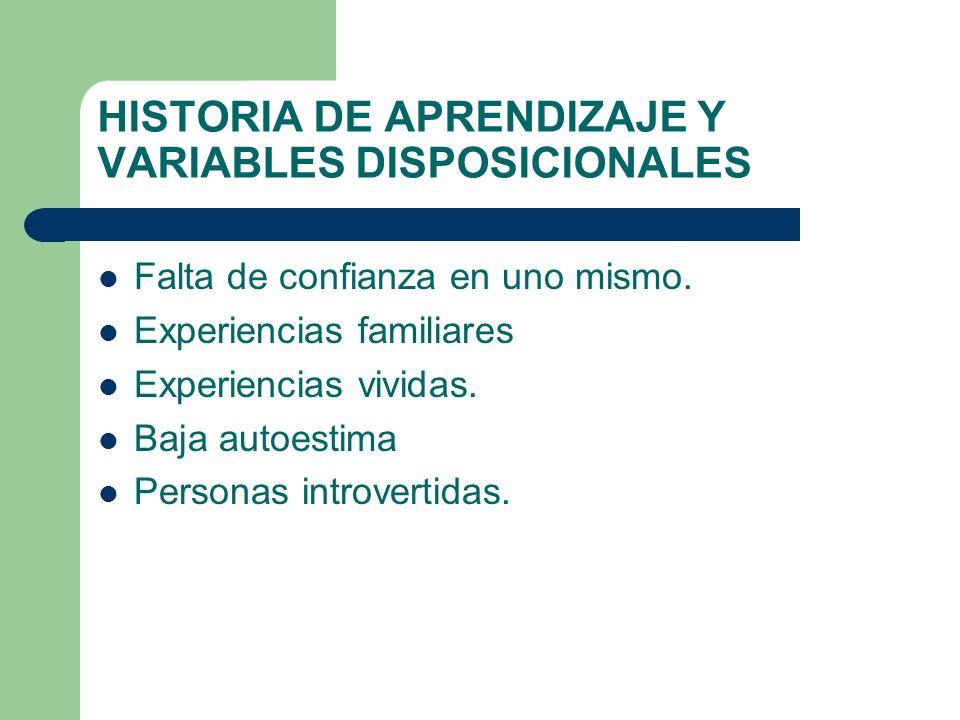 HISTORIA DE APRENDIZAJE Y VARIABLES DISPOSICIONALES