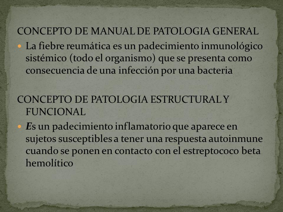 CONCEPTO DE MANUAL DE PATOLOGIA GENERAL