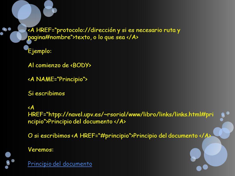 <A HREF= protocolo://dirección y si es necesario ruta y pagina#nombre >texto, o lo que sea </A> Ejemplo: