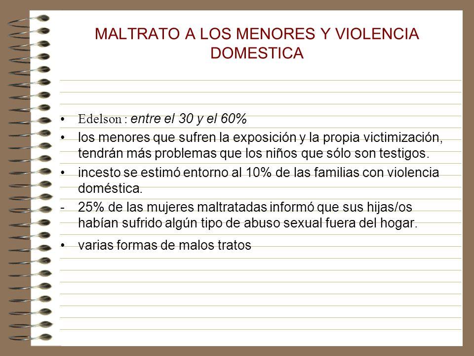 MALTRATO A LOS MENORES Y VIOLENCIA DOMESTICA