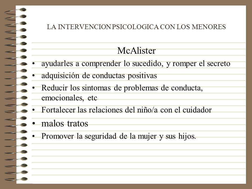 LA INTERVENCION PSICOLOGICA CON LOS MENORES