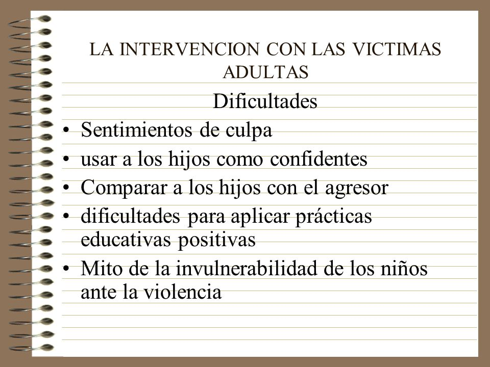 LA INTERVENCION CON LAS VICTIMAS ADULTAS