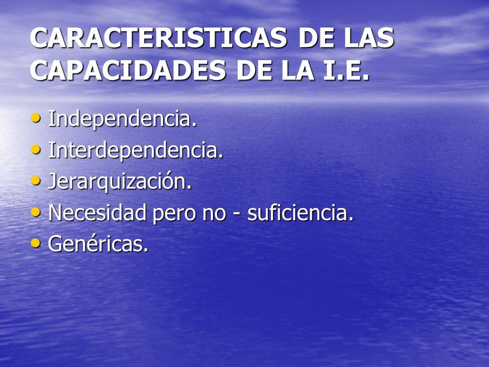 CARACTERISTICAS DE LAS CAPACIDADES DE LA I.E.