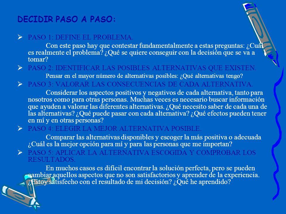 DECIDIR PASO A PASO: PASO 1: DEFINE EL PROBLEMA.