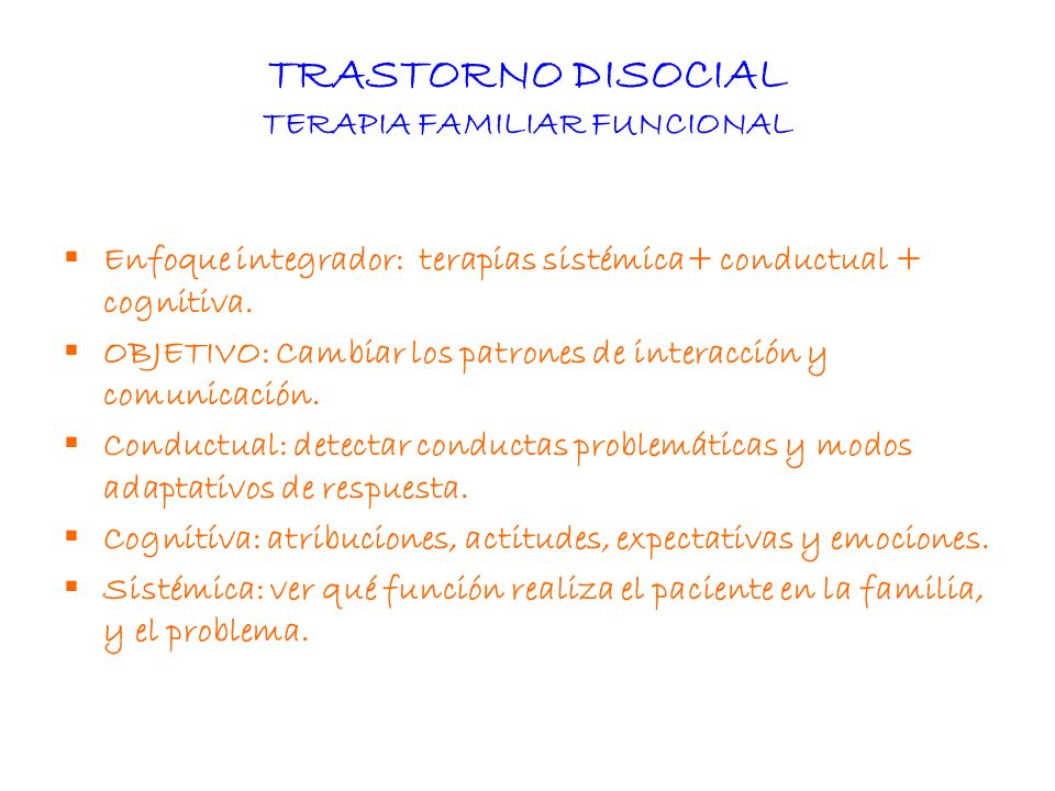 TRASTORNO DISOCIAL TERAPIA FAMILIAR FUNCIONAL