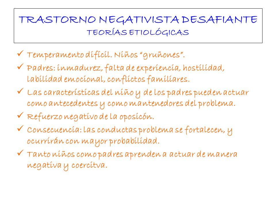 TRASTORNO NEGATIVISTA DESAFIANTE TEORÍAS ETIOLÓGICAS