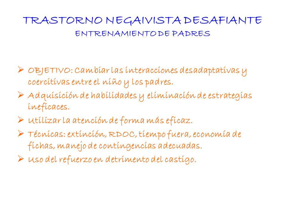 TRASTORNO NEGAIVISTA DESAFIANTE ENTRENAMIENTO DE PADRES