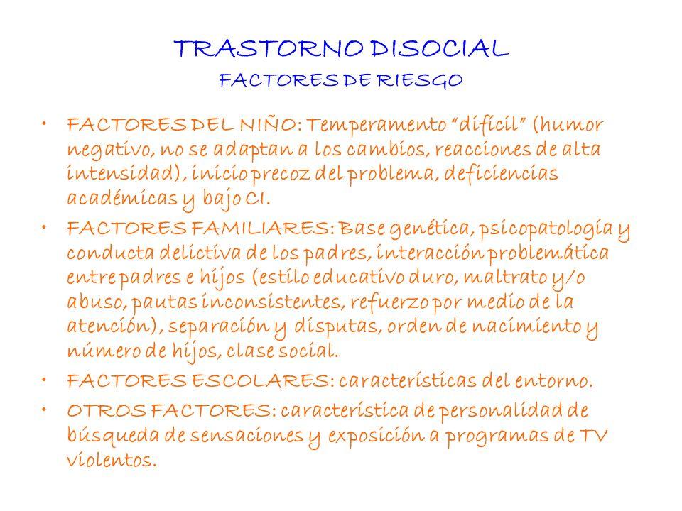 TRASTORNO DISOCIAL FACTORES DE RIESGO