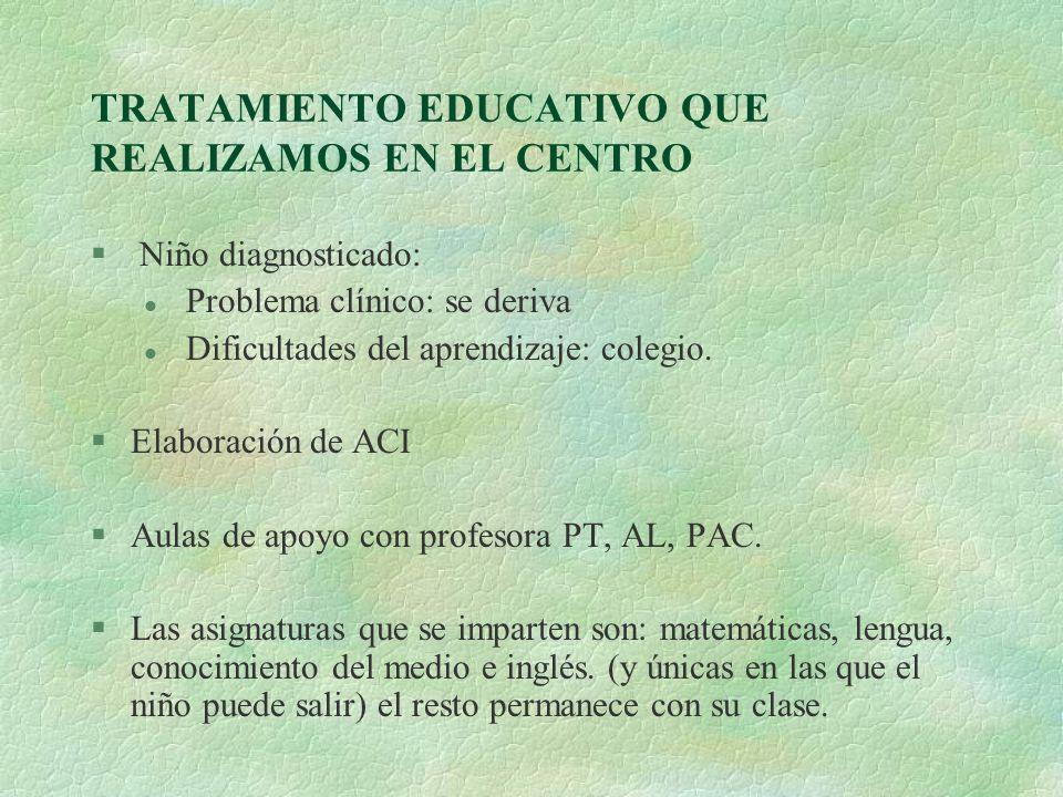 TRATAMIENTO EDUCATIVO QUE REALIZAMOS EN EL CENTRO