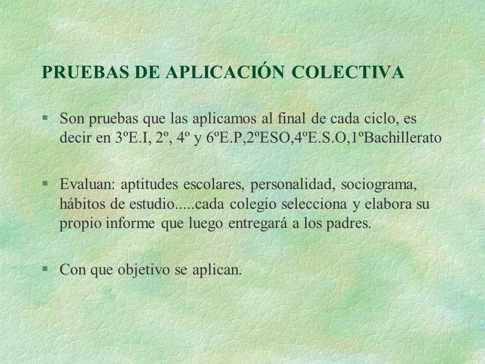 PRUEBAS DE APLICACIÓN COLECTIVA