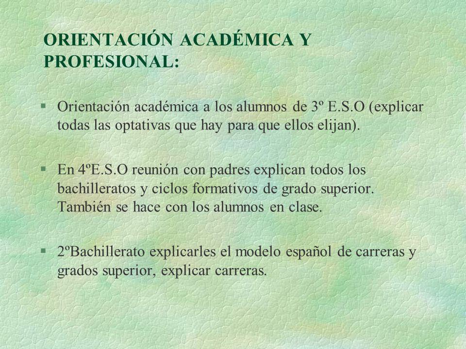 ORIENTACIÓN ACADÉMICA Y PROFESIONAL:
