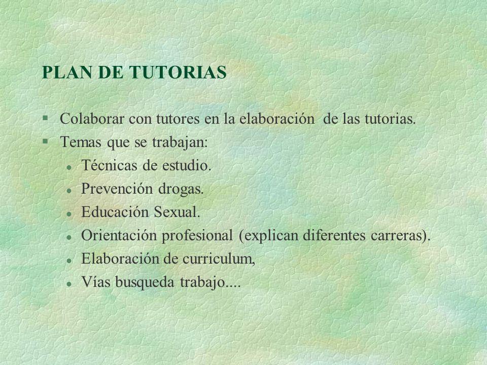 PLAN DE TUTORIAS Colaborar con tutores en la elaboración de las tutorias. Temas que se trabajan: Técnicas de estudio.