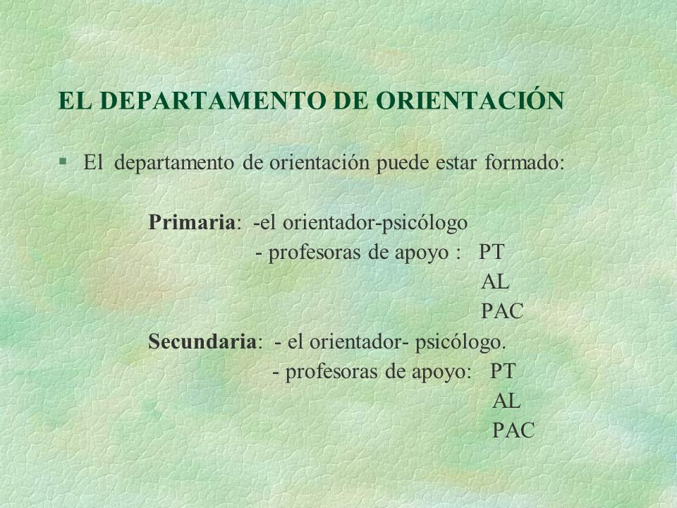 EL DEPARTAMENTO DE ORIENTACIÓN