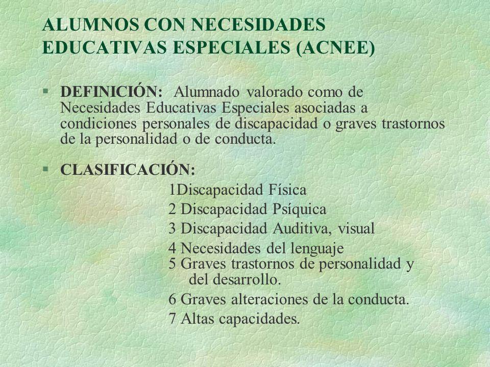 ALUMNOS CON NECESIDADES EDUCATIVAS ESPECIALES (ACNEE)