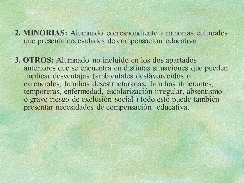 2. MINORIAS: Alumnado correspondiente a minorías culturales que presenta necesidades de compensación educativa.