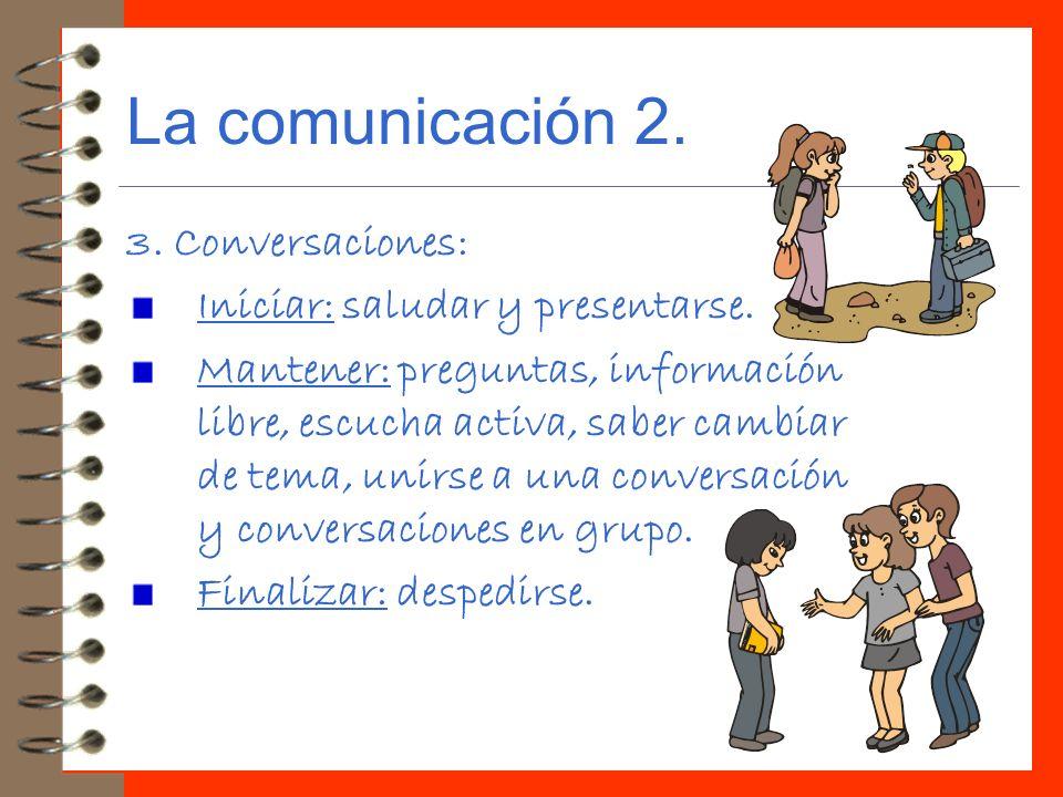 La comunicación 2. 3. Conversaciones: Iniciar: saludar y presentarse.