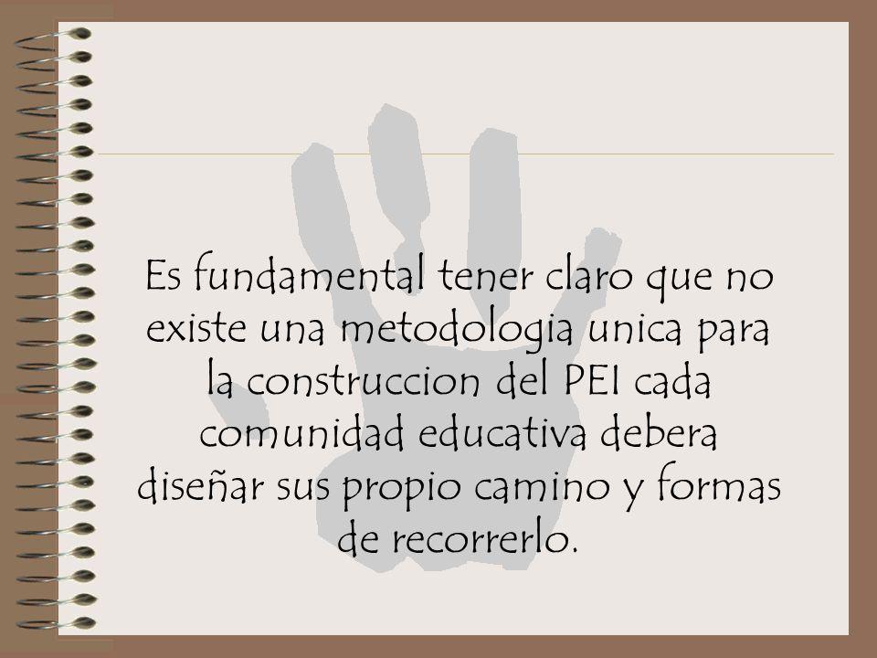 Es fundamental tener claro que no existe una metodologia unica para la construccion del PEI cada comunidad educativa debera diseñar sus propio camino y formas de recorrerlo.