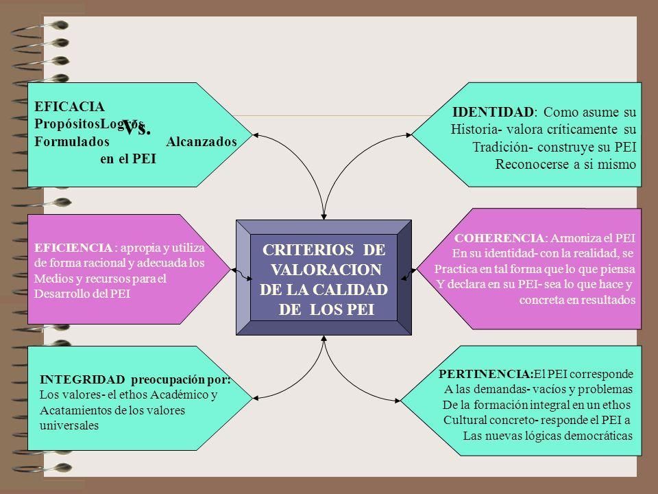 Vs. CRITERIOS DE VALORACION DE LA CALIDAD DE LOS PEI EFICACIA