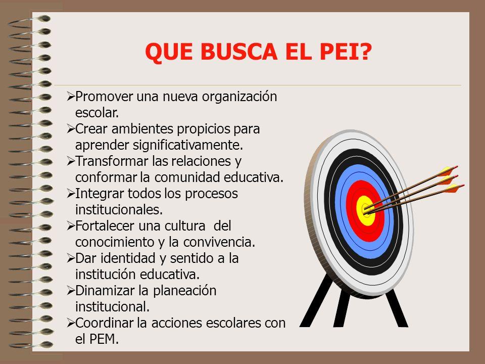 QUE BUSCA EL PEI Promover una nueva organización escolar.