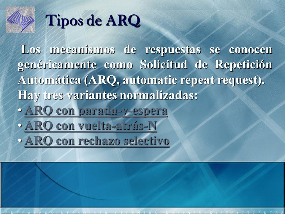 Tipos de ARQ Los mecanismos de respuestas se conocen genéricamente como Solicitud de Repetición Automática (ARQ, automatic repeat request).