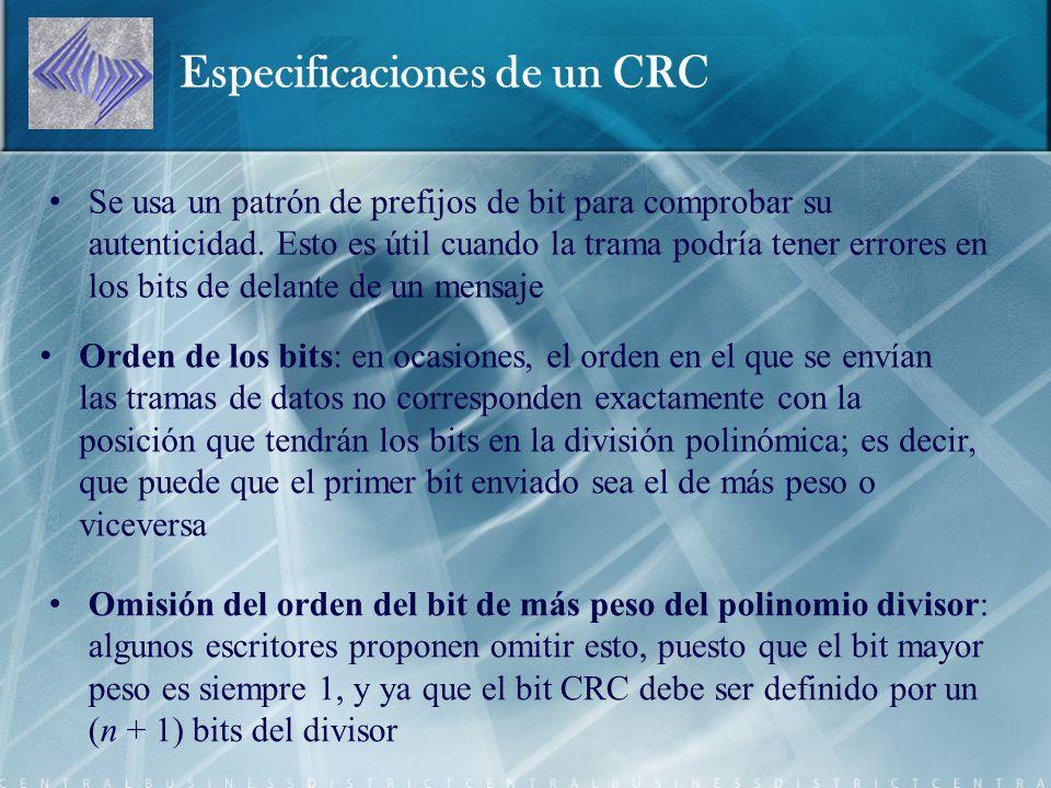 Especificaciones de un CRC