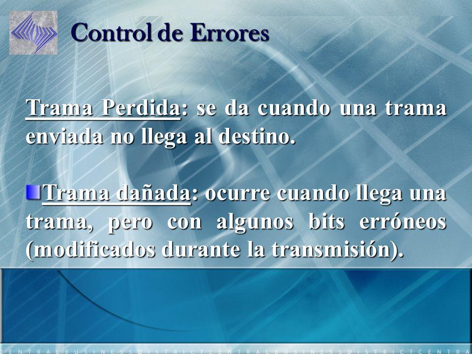 Control de Errores Trama Perdida: se da cuando una trama enviada no llega al destino.