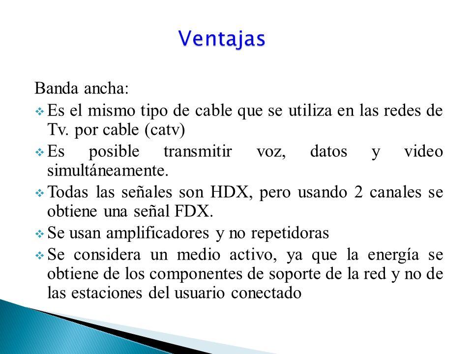 Ventajas Banda ancha: Es el mismo tipo de cable que se utiliza en las redes de Tv. por cable (catv)
