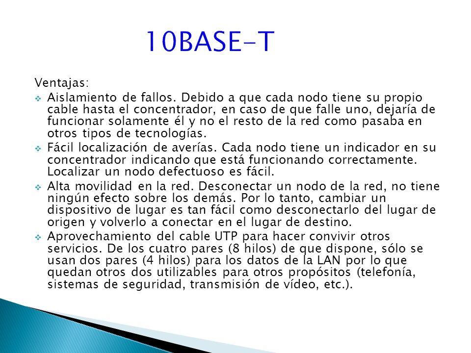 10BASE-T Ventajas: