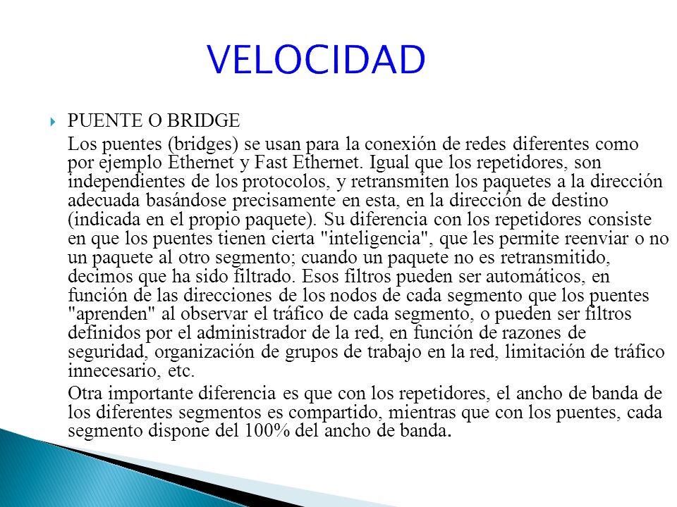 VELOCIDAD PUENTE O BRIDGE
