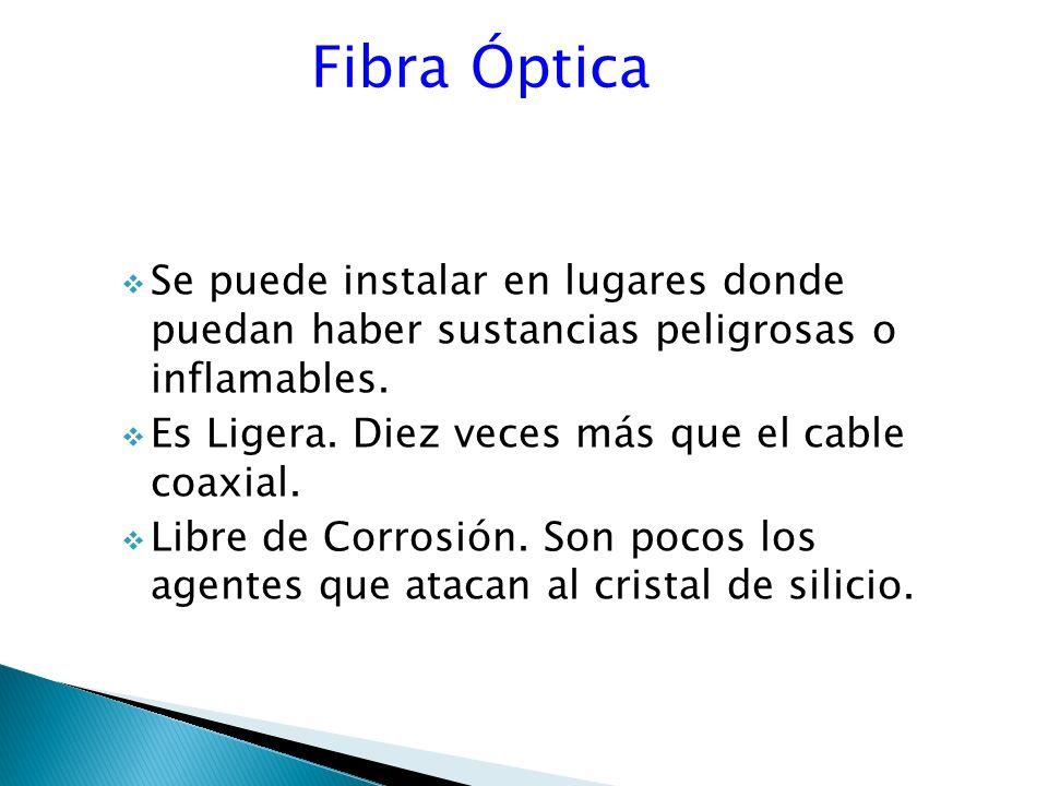 Fibra Óptica Se puede instalar en lugares donde puedan haber sustancias peligrosas o inflamables.
