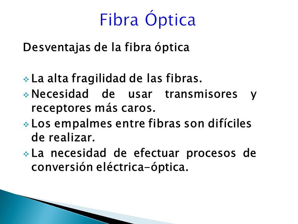 Fibra Óptica Desventajas de la fibra óptica