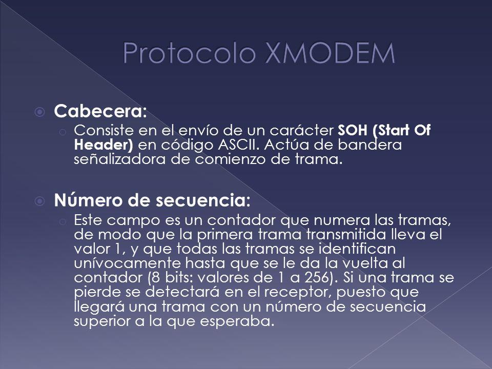 Protocolo XMODEM Cabecera: Número de secuencia: