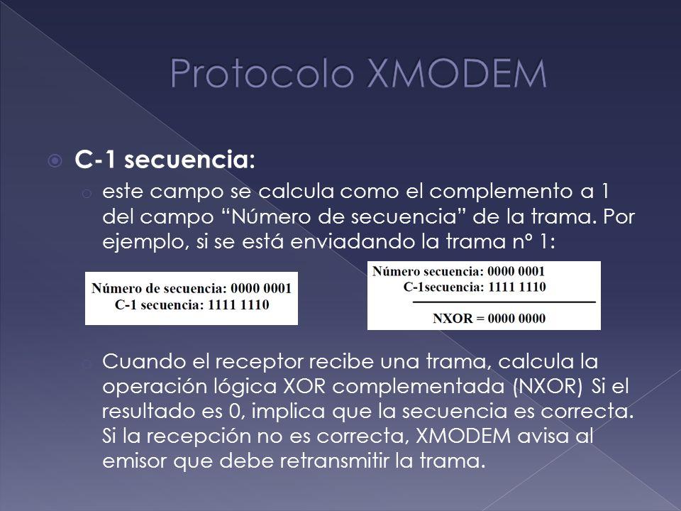 Protocolo XMODEM C-1 secuencia: