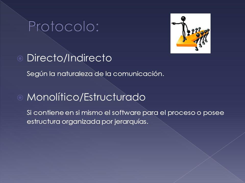 Protocolo: Directo/Indirecto Según la naturaleza de la comunicación.