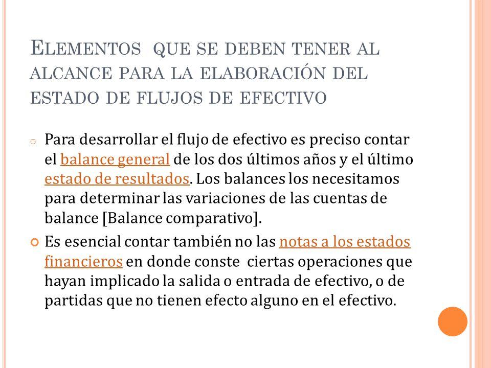 Elementos que se deben tener al alcance para la elaboración del estado de flujos de efectivo