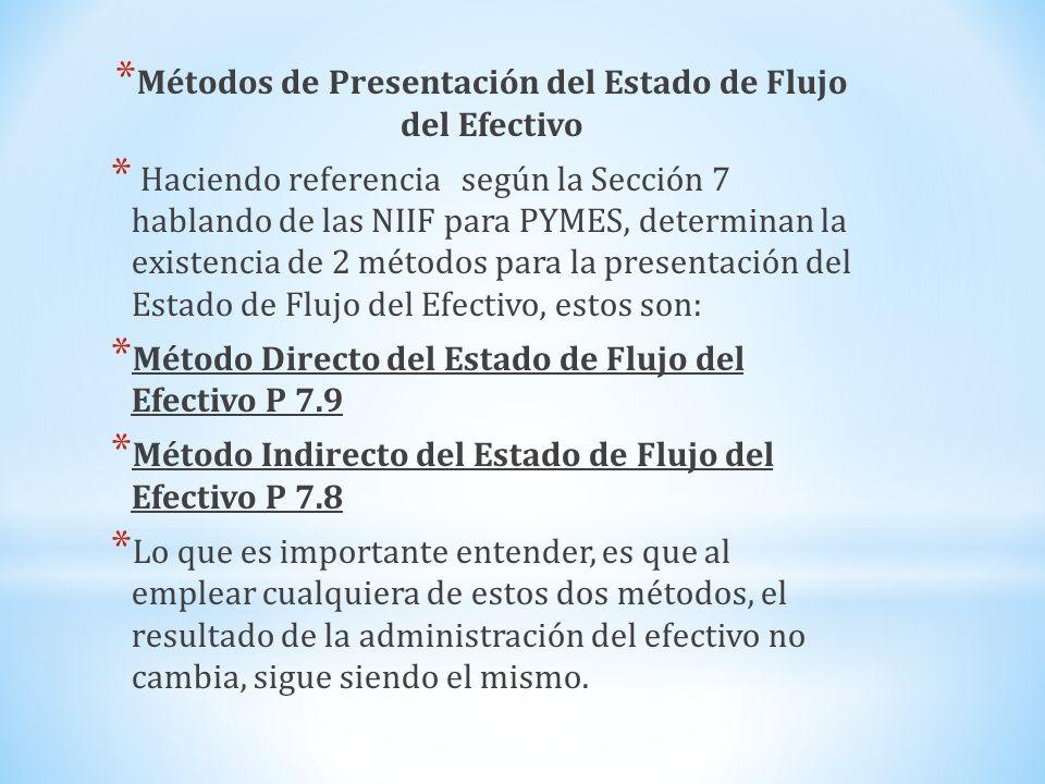 Métodos de Presentación del Estado de Flujo del Efectivo