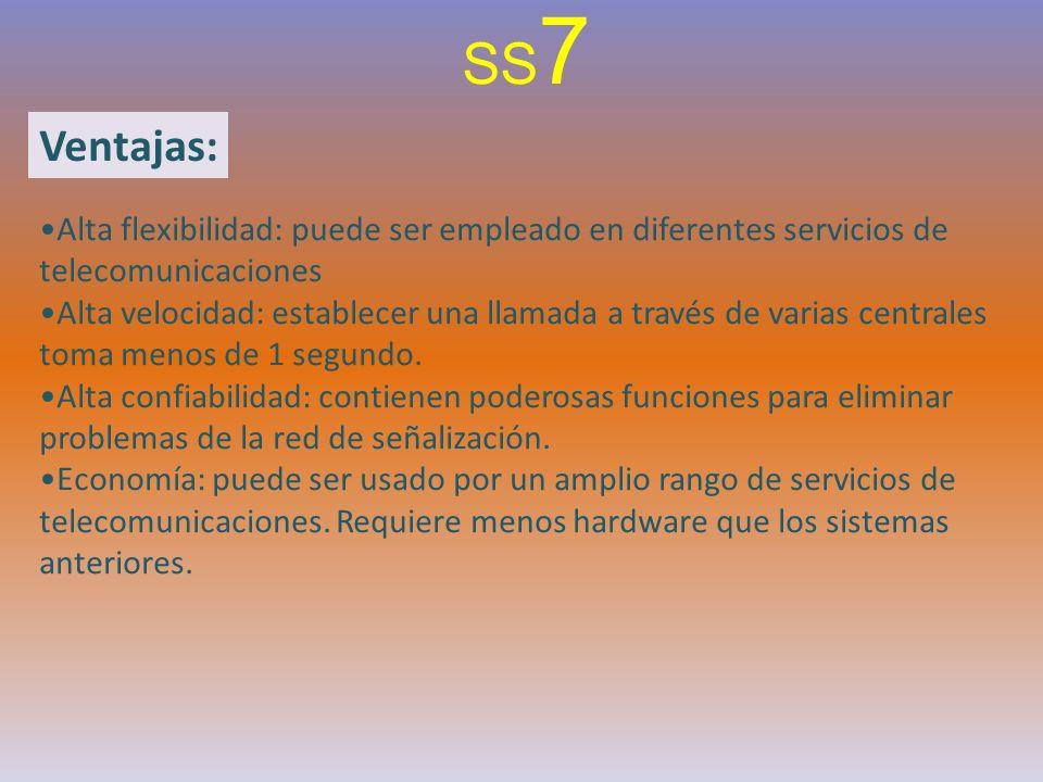 SS7 Ventajas: Alta flexibilidad: puede ser empleado en diferentes servicios de telecomunicaciones.