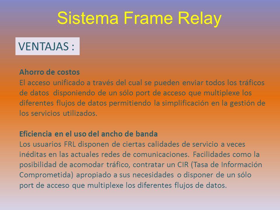 Sistema Frame Relay VENTAJAS : Ahorro de costos