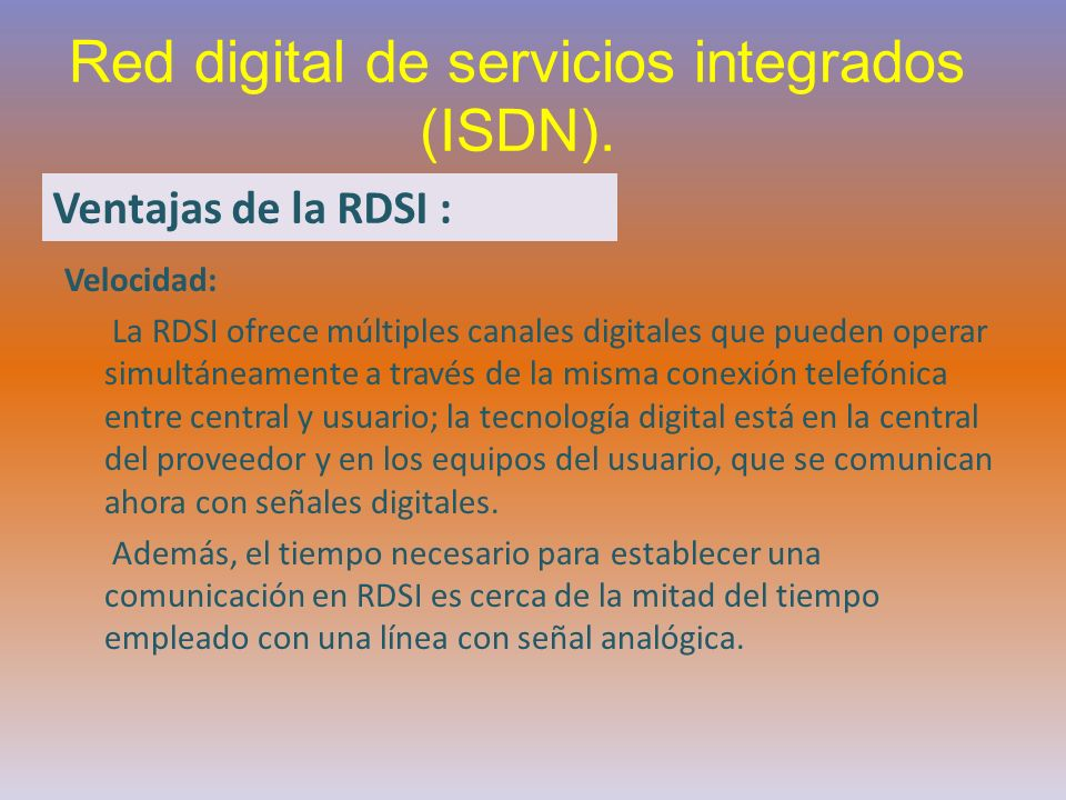 Red digital de servicios integrados (ISDN).