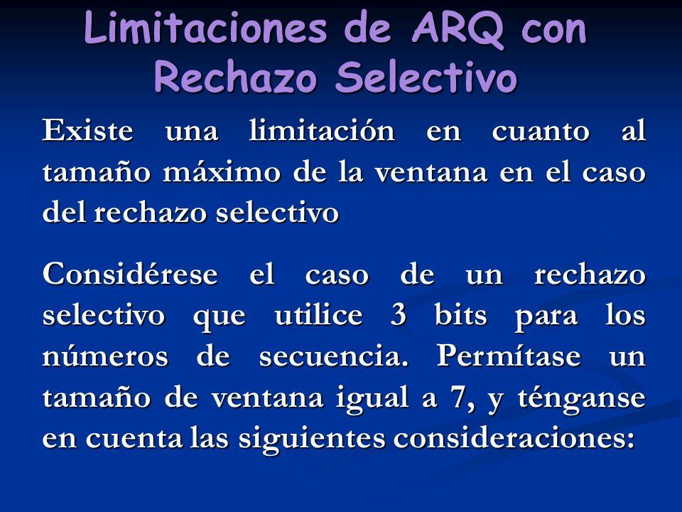 Limitaciones de ARQ con Rechazo Selectivo