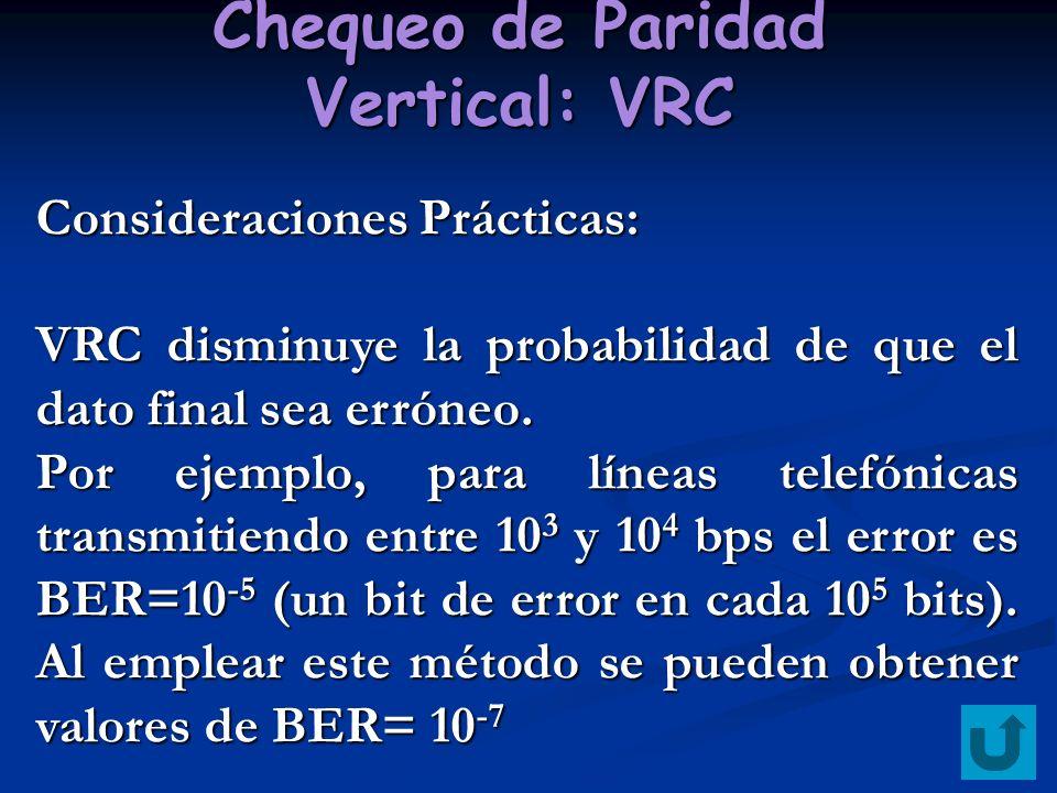 Chequeo de Paridad Vertical: VRC