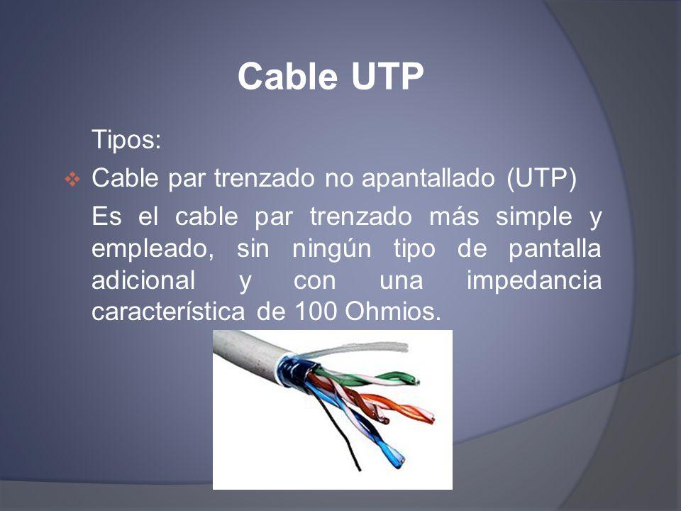Cable UTP Tipos: Cable par trenzado no apantallado (UTP)