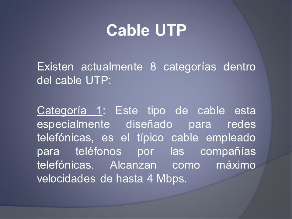 Cable UTP Existen actualmente 8 categorías dentro del cable UTP: