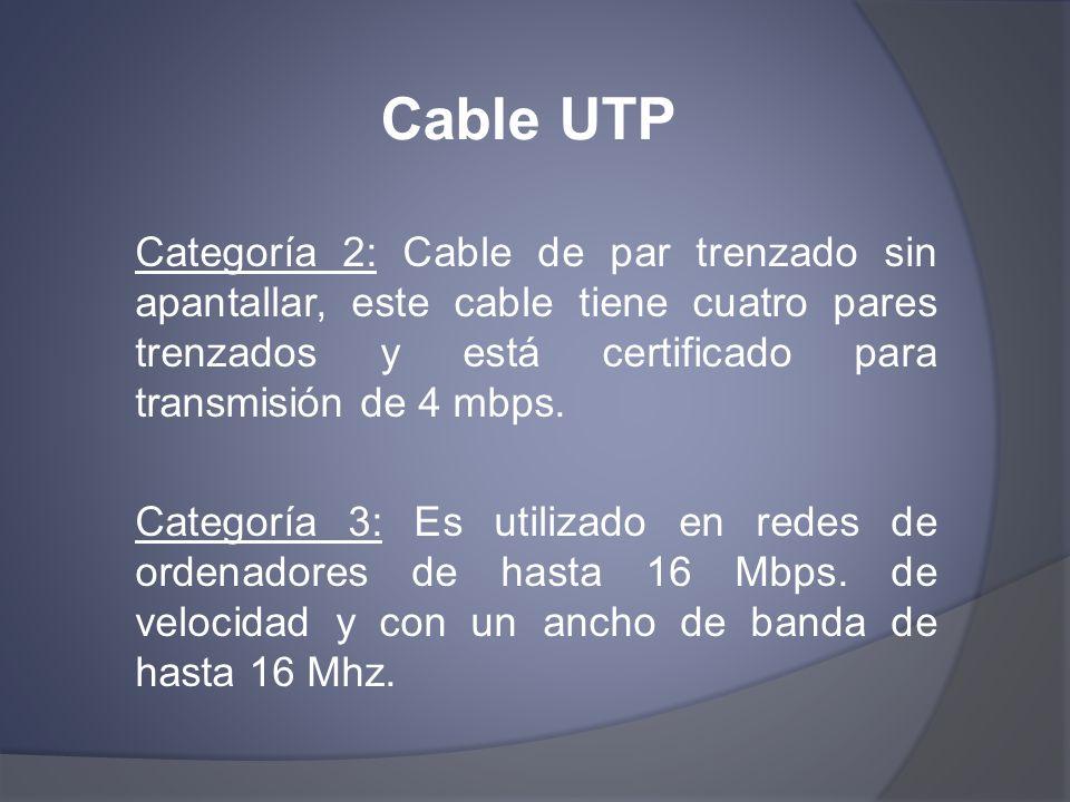 Cable UTP Categoría 2: Cable de par trenzado sin apantallar, este cable tiene cuatro pares trenzados y está certificado para transmisión de 4 mbps.