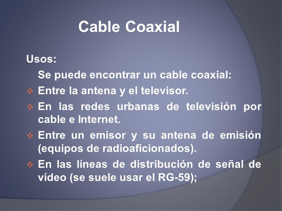 Cable Coaxial Usos: Se puede encontrar un cable coaxial: