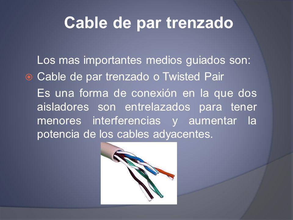 Cable de par trenzado Los mas importantes medios guiados son: