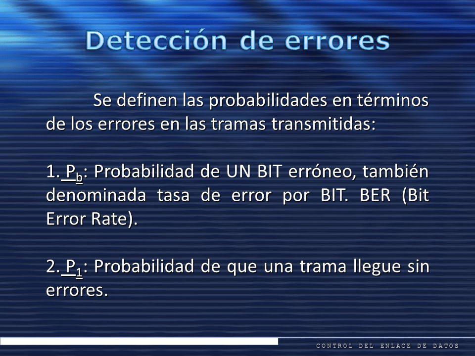 Detección de errores Se definen las probabilidades en términos de los errores en las tramas transmitidas: