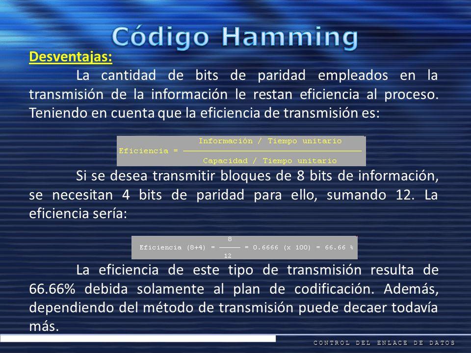 Código Hamming Desventajas: