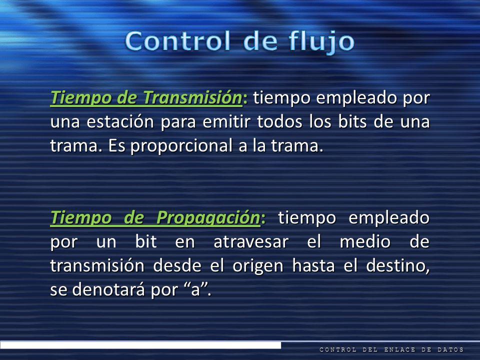 Control de flujo Tiempo de Transmisión: tiempo empleado por una estación para emitir todos los bits de una trama. Es proporcional a la trama.