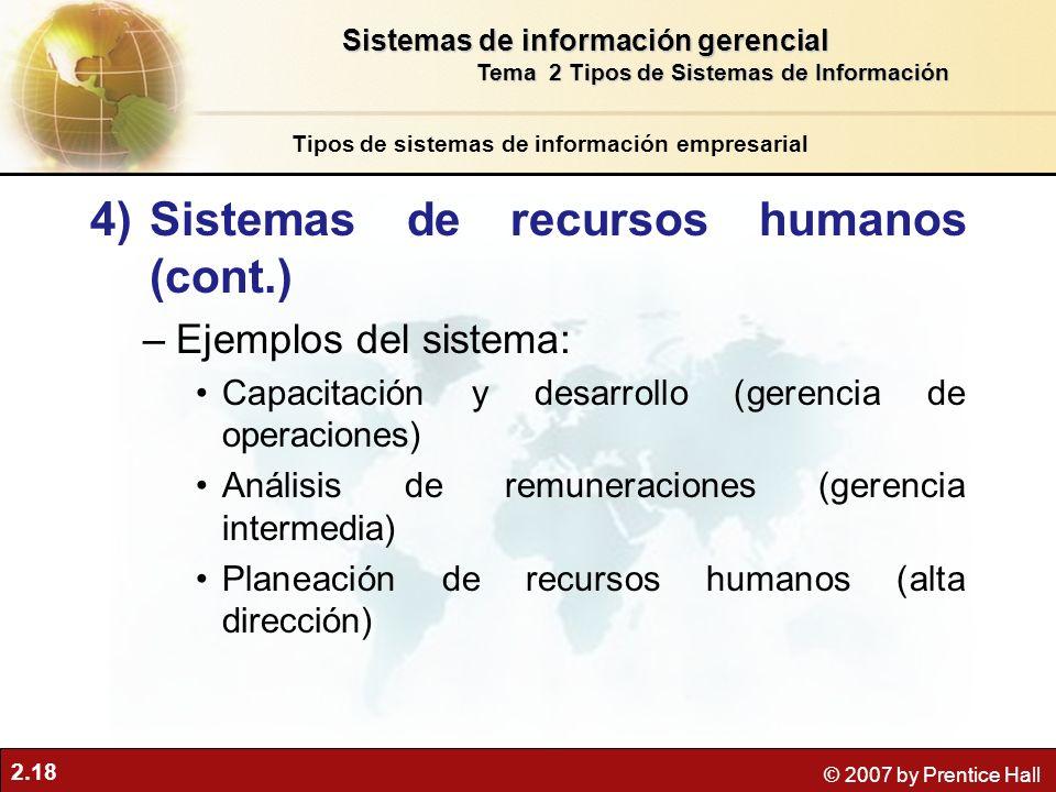 Sistemas de recursos humanos (cont.)